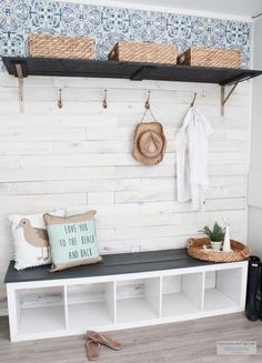Budget Friendly Beach Cottage Mudroom and coastal cottage style This is an easy tutorial on how I created a beach cottage style mudroom by repurposing a book shelf, weaber lumber wall boards and a few accessories. Cottage Style Mudroom, Beach Cottage Style, Beach Cottage Decor, Coastal Cottage, Coastal Style, Coastal Living, Cottage Entryway, Cottage Ideas, Coastal Wall Decor