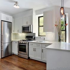 Modern White Shaker Kitchen kitchen idea of the day: modern white kitchen with wood floors