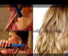 Pour faire de jolies ondulations : Vous torsader votre mèche de cheveux et pour appuyer sur la mèche avec votre liseurs