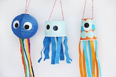 🐳🐬Go on a deep sea adventure with these adorable sea creature windsocks! Get the steps and supplies link in profile.  Idea by: @craftingchicks  #kidscrafts #summercraftideas #kidcraftideas #summerboredombuster #windsocks #seaadventures #craftideas #fun365 #orientaltrading