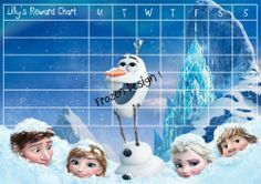 Childrens Reward Chart Chore Chart for Kids Personalised Frozen Elsa
