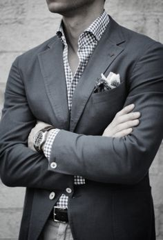 Grey Suit and Gingham shirt