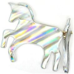 Dolls Kill The Last Unicorn Hologram Clutch ($16) ❤ liked on Polyvore featuring bags, handbags, clutches, unicorn, dolls kill, hologram, hologram purse, shoulder strap purses, holographic handbag and hologram handbag