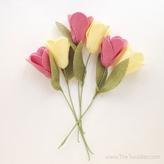Give that special person a lovely handmade felt flower bouquet that will last year-round. Each flower, petal, leaf is hand-cut with lots of attention to detail and put together with lots of love. Details: - 6 Felt flowers total - Misc of pinks & yellows - Hand-cut petals - Hand-cut leaves