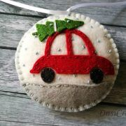 Felt christmas ornament – Car with Christmas tree / wool blend felt/ white or blue background This listing is for 1 ornament Size about 8 cm Material wool blend felt Handmade from felt with h…
