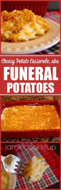 Have you ever heard of Funeral Potatoes? If you've been to a funeral luncheon at a Mormon Church, chances are you've been served Funeral Potatoes. Shredded potatoes, mixed with cheese… Cheesy Potato Casserole, Cheesy Potatoes, Baked Potatoes, Potato Caserole, I Love Food, Good Food, Yummy Food, Tasty, Delicious Meals