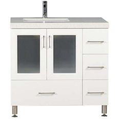 Westfiled 36 in. W x 22 in. D Vanity in White with Quartz Vanity Top in White with White Basin
