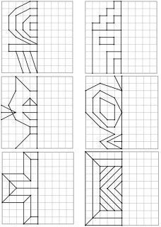 Voici un nouveau dos Kids Math Worksheets, Learning Activities, Visual Perceptual Activities, Preschool Learning, Teaching Math, Symmetry Math, Graph Paper Art, Cycle 2, Math Art