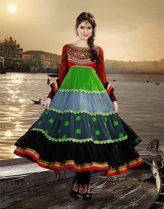 Sparkling Black, Crimson & Lime Green Salwar Kameez | StylishKart.com