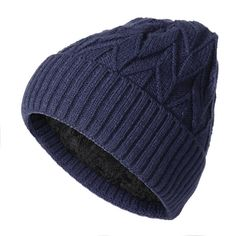 4811839a47c Mens Winter Plus Velvet Warm Knitted Solid Beanie Hat Casual Outdoor  Skullies Beanie Cap