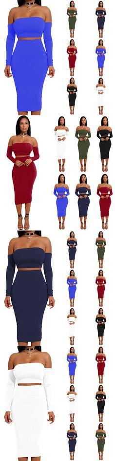 Celebrity Dresses: Women Summer Off Shoulder Crop Top Skirt Two Piece Set Celebrity Bodycon Dress -> BUY IT NOW ONLY: $4.99 on eBay!