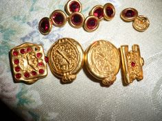 Vtg Todd Oldham Gold Metal w Red Swarowski Crystal Buttons | eBay