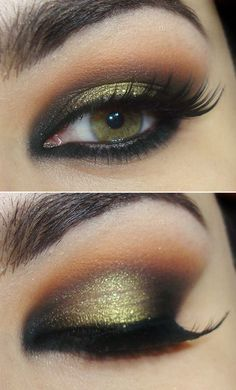 I love green eye shadow! Gorgeous gold glitter #wedding eye #makeup for green #eyes www.finditforweddings.com