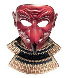 Red Tengu Somen (mask) Mid Edo Period, century By Geishu Myochin Kiyoyoshi, The iron mask forged in one piece with the beak and ears riveted on, beneath the chin are two otayori no kugi,. Kabuto Samurai, Samurai Weapons, Samurai Helmet, Samurai Armor, Broly Ssj3, Warring States Period, Japanese Mask, Edo Period, First Art