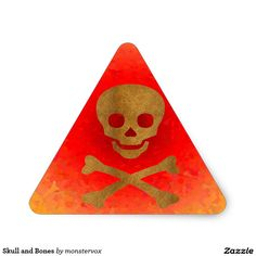 Skull and Bones Triangle Sticker  #Holiday #Halloween #Skull #Skeleton #Kids #Sticker