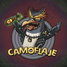 Un pingüino penacho que le gusta mucho la polaaa #pinguin #Eudypteschrysolophus #pinguino #penacho #radiation #hazard #warning #camoflaje #rockandroll #beer #aceofspades #toxic #thrash #metal #punk #nuclear #illustration #drawing