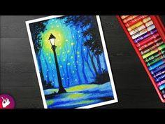 How to draw Street light lamp landscape drawing for beginners with oil pastel. Oil Pastel drawing just like a soft pastel. Oil Pastel Drawings Easy, Oil Pastel Paintings, Oil Pastel Art, Cool Drawings, Oil Pastels, Oil Pastel Crayons, Oil Pastel Colours, Landscape Drawing Easy, Oil Pastel Landscape