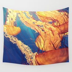 An amazing photo of a jellyfish underwater with a color combination of blue and yellow. Photography home decor tapestry. Home Goods Decor, Home Decor, Yellow Walls, Wall Tapestry, Color Combinations, Beautiful Homes, Cool Photos, Yellow Photography, Pillows
