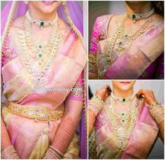 Bride in Diamond Jewellery - Indian Jewellery Designs South Indian Bride Jewellery, Indian Jewellery Design, Jewellery Designs, Indian Bridal Sarees, Wedding Sarees, Engagement Saree, Indie, Bollywood, Indian Outfits
