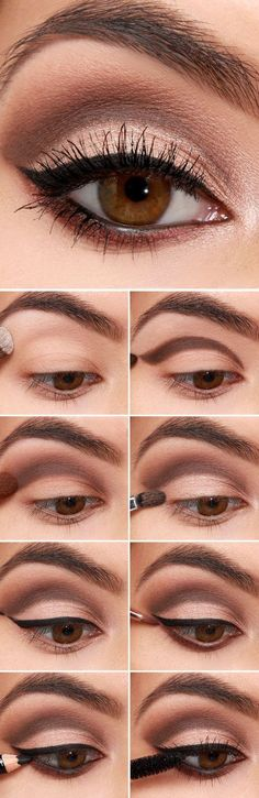 16 Easy Step-by-Step Eyeshadow Tutorials for Beginners: #3. Easy Eyeshadow Makeup Tutorials for Beginners – Brown Cut Crease with Eyeliner #cutcreasestepbystep #eyeshadowsforbeginners