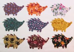 Set of 9 Hedgehog Iron-on Cotton Fabric Appliques for Quilts & Apparel Etc #Unbranded
