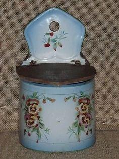 Old French Enamelware Salt Box C 1900 Floral Pensées Signed 502L Japy