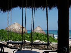 Valentin Imperial Maya, Playa del Carmen, Mexico beach bar swings