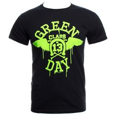 Green Day Neon Wings T Shirt (Black)