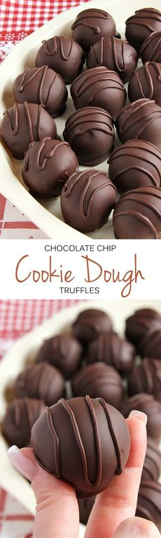 These chocolate chip cookie dough truffles are so easy you're going to feel like you're cheating. If no time, try using refrigerated cookie dough roll. Candy Recipes, Baking Recipes, Sweet Recipes, Cookie Recipes, Dessert Recipes, Cookie Dough Truffles, Chocolate Chip Cookie Dough, Chocolate Chips, Cake Chocolate