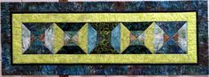 Bow Tie Batik Quilted Table Runner/wall by Quiltsbysuewaldrep
