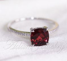Cushion Cut 8mm Red Garnet Ring Pave Diamonds 14K White Gold Engagement Ring/ Wedding Ring/ Promise Ring/ Anniversary Ring