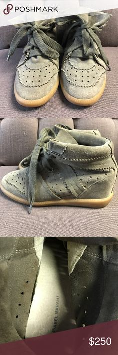 Isabel Marant Green Sneaker Wedges In excellent condition Isabel Marant Shoes Sneakers