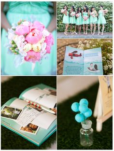 """""""Inspirational Moments #72: Aqua And Pink"""" Love the color of the bridesmaids dresses"""