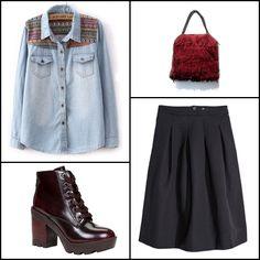 Crinkled #skirt @hm ~~ Ella burgundy #bag #ILEVAHC ~~ Light blue long sleeve contrast embroidery denim #blouse @sheinside ~~ Serinna #boots @aldoshoes ~~.