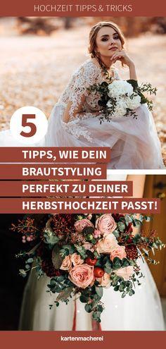 5 Tipps, für dein Brautstyling bei der Herbsthochzeit!Ihr heiratet im September, Oktober oder November und feier eine Herbsthochzeit? Dann lasst euch von 10 kreativen Ideen für eure Herbsthochzeit inspirieren. Von der Tischdekoration, überb die Herbst Deko, über die Einladungskarten bis zum Boho Blumenkranz - hier findest du Tipps für deine Herbsthochzeit. #kartenmacherei #herbsthochzeit Boho Stil, September, Inspiration, Wedding Dresses, 秋のウェディング 装飾, Floral Wreath, October, Invitation Cards, Getting Married