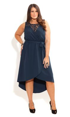 City Chic - HI LO LACE INSERT DRESS - Women's plus size fashion