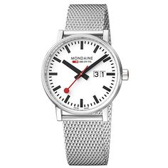 Buy Mondaine Unisex Evo 2 Date Mesh Bracelet Strap Watch, Silver/White from our Women's Watches range at John Lewis & Partners. Mesh Bracelet, Bracelets, Bauhaus Style, Mesh Band, Glass Material, Unisex, Stainless Steel Watch, Minimalist Design, Watches For Men