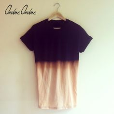 Black/Bleach Dip Dye Tshirt by OmbreOmbreOfficial on Etsy