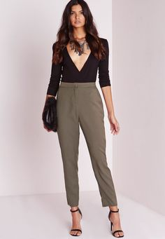 Missguided - Crepe Cigarette Pants Khaki Green