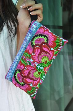 Pink Magenta Flowers Wristlet Clutch HMONG Embroidered Bag Hippie Boho Handmade Thailand (BG810-BF)
