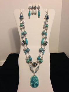Gorgeous Aqua and Silver Necklace and by JewelryWorksbyCarol, $65.00