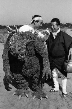 Godzilla drinks tea! Happy Halloween everyone.