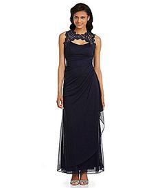 Xscape Cutout Lace-Neckline Gown
