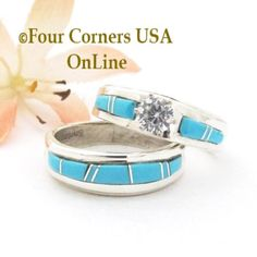 Four Corners USA Online - Size 8 Turquoise Engagement Bridal Wedding Ring Set Navajo Wilbert Muskett Jr WS-1690, $240.00 (http://stores.fourcornersusaonline.com/size-8-turquoise-engagement-bridal-wedding-ring-set-navajo-wilbert-muskett-jr-ws-1690/)