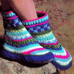 INSTANT DOWNLOAD PDF CROCHET PATTERN for Greenland Booties    This vintage 1970s US crochet pattern for Greenland slippers has been digitally
