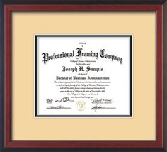 Custom Cherry Reverse Document - Certificate Frame, Cream on Black mat – Professional Framing Company
