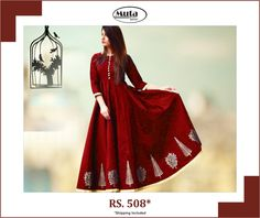 Celebrate this Republic Day by updating your wardrobe. Buy from Muta fashion at affordable prices. Red Party, Silk Gown, Secondary Color, Dark Red, Gowns, Website, Celebrities, Fabric, Popular