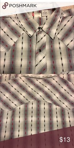 Men's Levi's western shirt black red sz L Only worn a few times Levi's brand Western Shirt. Snap front Plaid w/ diamond stitch details. Size large, smoke free home. All sales are final. Levi's Shirts Casual Button Down Shirts