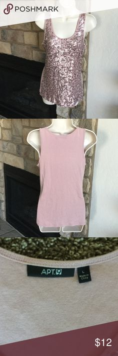 Bling Bling Tank Nice layering tank or jazz up some sweats with this beauty.  Bling is sewn so no worries about glue.  I would call the color champagne pink.  Non smoking house. (S) Apt. 9 Tops Tank Tops