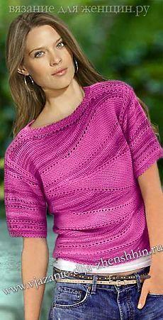Женский пуловер, частичное вязание.